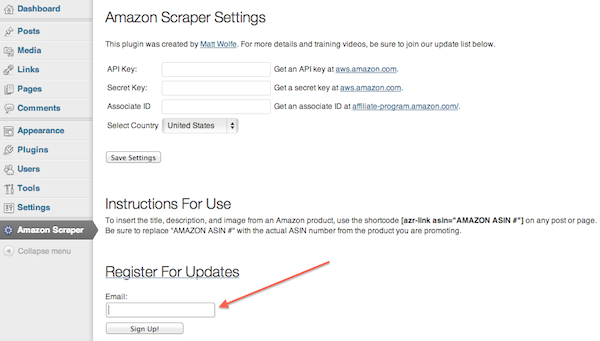 Amazon Scrapper Plugin Admin